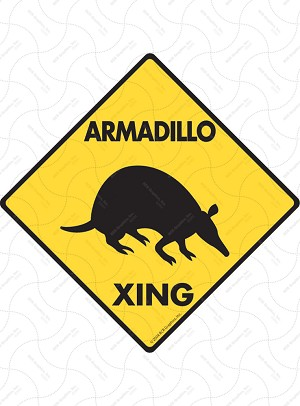 Armadillo Xing (Crossing) Animal Signs and Sticker