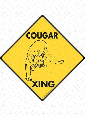 Cougar Xing Sign or Sticker