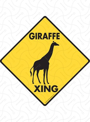 Giraffe Xing (Crossing) Animal Signs and Sticker
