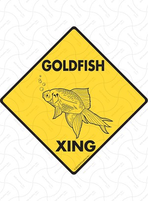 Goldfish Xing (Crossing) Animal Signs and Sticker