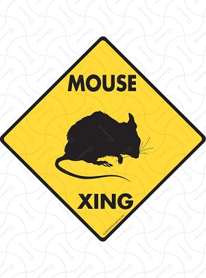Mouse Xing Sign or Sticker