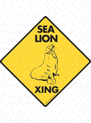 Sea Lion Xing Sign or Sticker