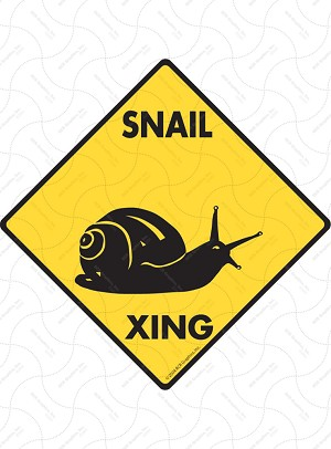 Snail Xing (Crossing) Animal Signs and Sticker