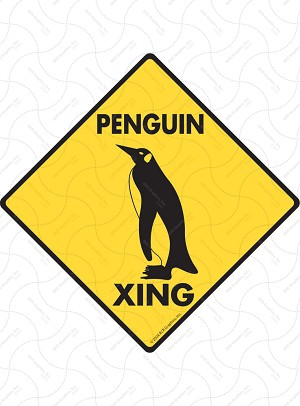 Penguin Xing Sign or Sticker