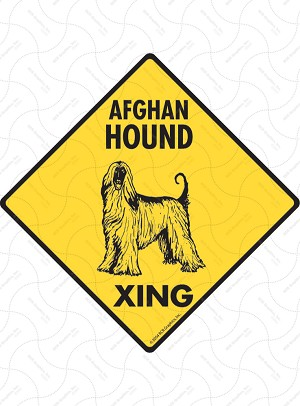 Afghan Hound Xing (Crossing) Dog Signs and Sticker