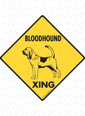 Bloodhound Xing (Crossing) Dog Signs and Sticker