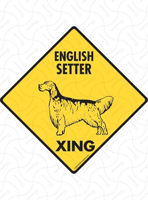 English Setter Xing (Crossing) Dog Signs and Sticker