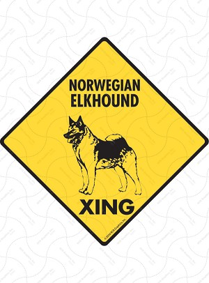 Norwegian Elkhound Xing Sign or Sticker