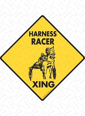 Harness Racer Xing (Crossing) Horse Signs and Sticker