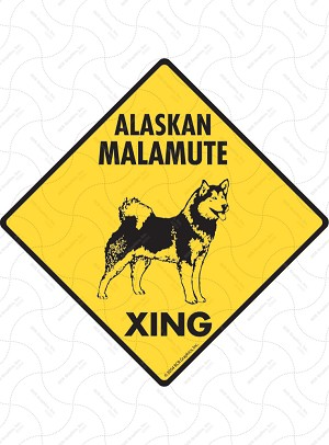 Alaskan Malamute Xing (Crossing) Dog Signs and Sticker