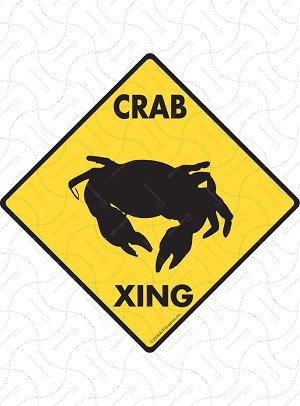 Crab Xing Sign or Sticker