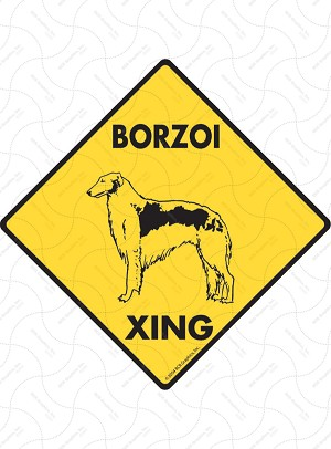 Borzoi Xing Sign or Sticker