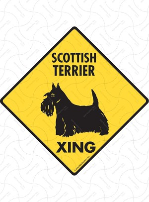 Scottish Terrier Xing (Crossing) Dog Signs and Sticker