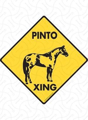 Pinto Xing (Crossing) Horse Signs and Sticker