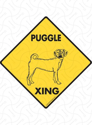 Puggle Xing Sign or Sticker