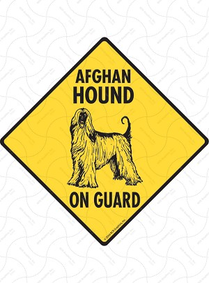 Afghan Hound On Guard Signs and Sticker