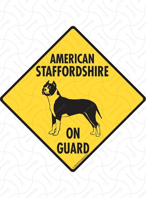 American Staffordshire Terrier On Guard Sign or Sticker