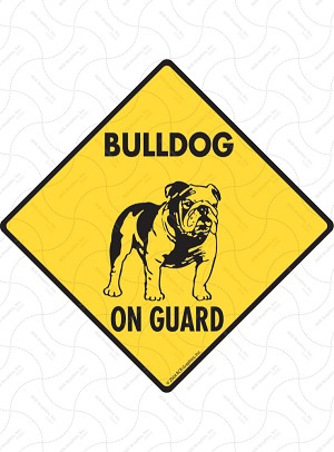 Bulldog On Guard Sign or Sticker