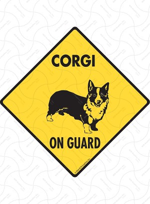 Corgi On Guard Sign or Sticker