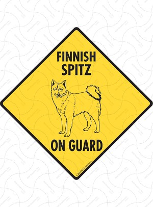 Finnish Spitz On Guard Sign or Sticker