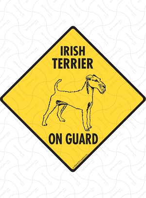 Irish Terrier On Guard Sign or Sticker
