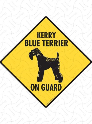 Kerry Blue Terrier On Guard Sign or Sticker
