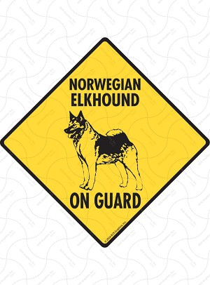 Norwegian Elkhound On Guard Sign or Sticker