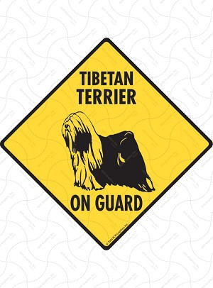 Tibetan Terrier On Guard Sign or Sticker