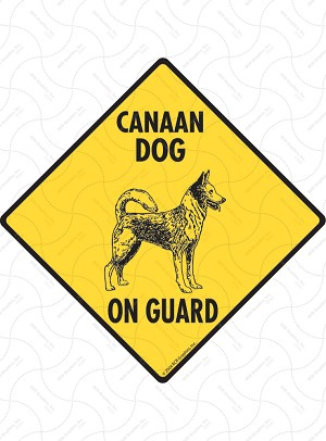 Canaan Dog On Guard Sign or Sticker