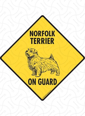 Norfolk Terrier On Guard Sign or Sticker