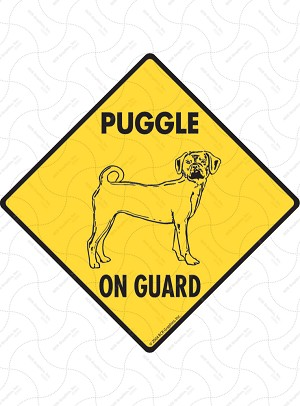 Puggle On Guard Sign or Sticker