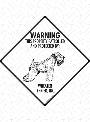 Wheaten Terrier - Warning! Property Sign or Sticker