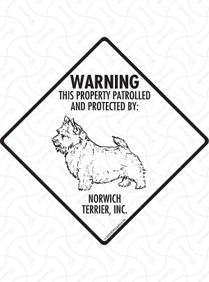 Norwich Terrier - Warning! Property Sign or Sticker