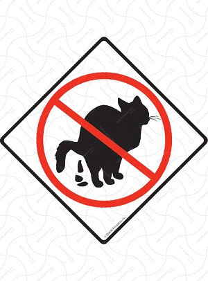 No Cat Pooping Sign or Sticker