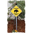 Caution Buffalo On Road Sign on Stake