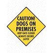 Caution! Dogs on Premises Sign or Sticker