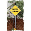 Caution Blind Cat Sign on Stake