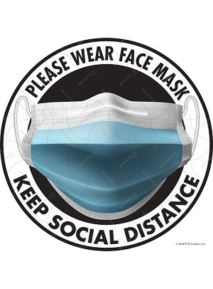 Please Wear Face Mask and Keep Social Distance Vinyl Sticker