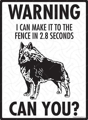 Schipperke - Warning! Fence Sign