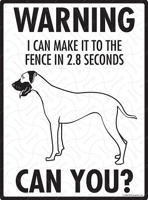 Great Dane - Warning! Fence Sign