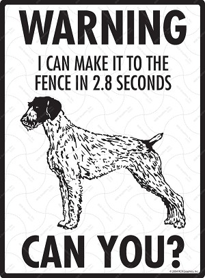 German Wirehaired Pointer - Warning! Fence Sign