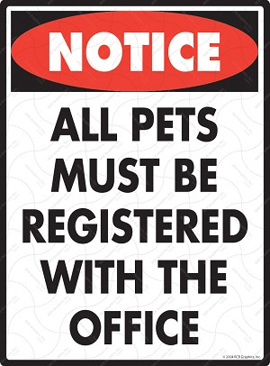 All Pets Must Be Registered Sign