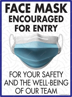 "Face Mask Encouraged Exterior Aluminum Sign - 9"" x 12"""