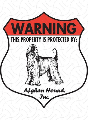 Afghan Hound Badge Shape Sign or Sticker