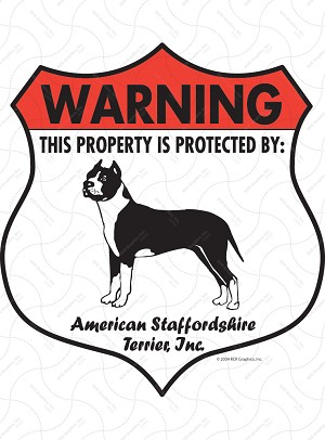 American Staffordshire Terrier Badge Shape Signs