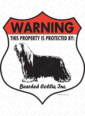 Bearded Collie Badge Shape Sign or Sticker