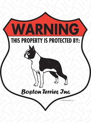 Boston Terrier Badge Shape Sign or Sticker