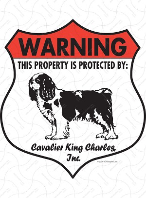 Cavalier King Charles Badge Shape Sign or Sticker