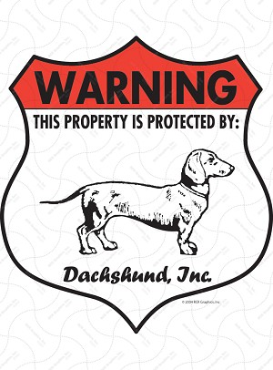 Dachshund Badge Shape Sign or Sticker