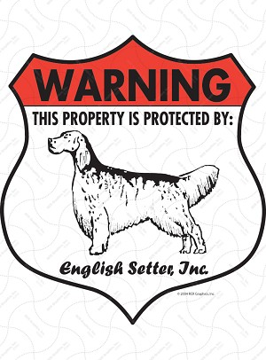 English Setter Badge Shape Sign or Sticker